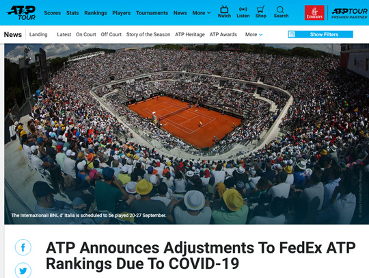 ATPとWTAが暫定的なランキングシステムを発表しました【NOBU TENNIS BLOG】